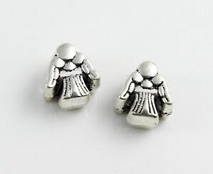 6 Ange Métal Perles Antique Argent Ø 4,5 Mm Bijoux Fabrication Noël-afficher Le Titre D'origine
