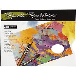 40-Tear-Off-Paper-Disposable-31cm-Artists-Painting-Palette-Craft-Paint-Hole-Art