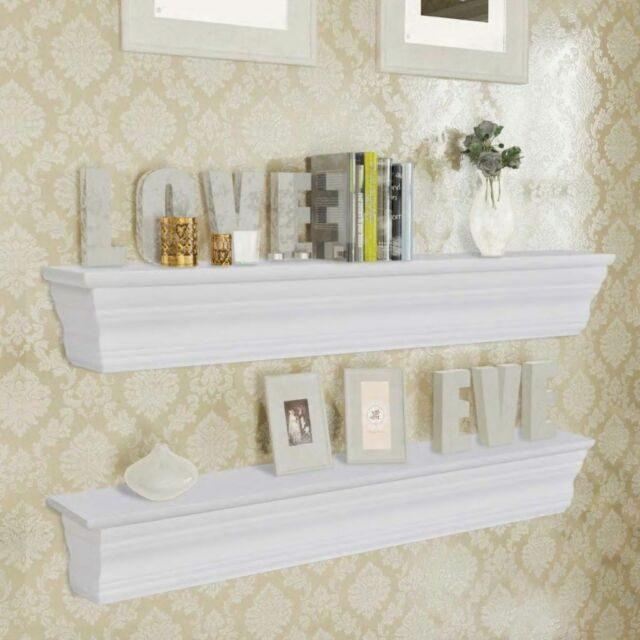2 Wall Shelves Bookshelf Display Decor Ornament CD Storage Unit White MDF UK
