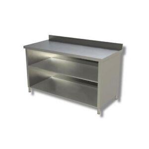 Tavolo 130x60x85 acciaio inox 430 a giorno ripiano ...
