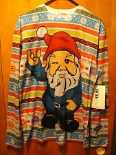 FAUX REAL Christmas Gnome  Men's MED  NWT L/SLV T Shirt Devil Horns UGLY SWEATER
