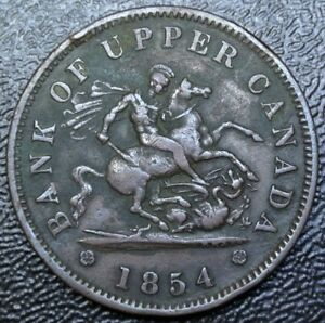 1854-BANK-OF-UPPER-CANADA-ONE-PENNY-BANK-TOKEN-COPPER-Dragon-Slayer-BR-719