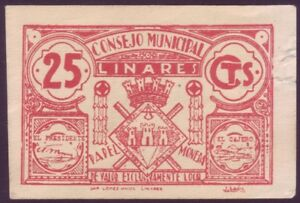 Banknotes Local - Municipal Council Of Linares - 25 Cts. MBC