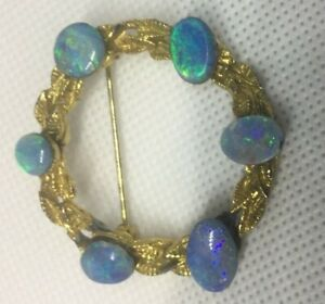 VINTAGE-OPAL-CHIP-GOLD-COLOUR-BROOCH-PIN