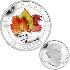 2013-O-Canada-Series-10-Fine-Silver-Coloured-Coin-Maple-Leafs-TAX-Exempt
