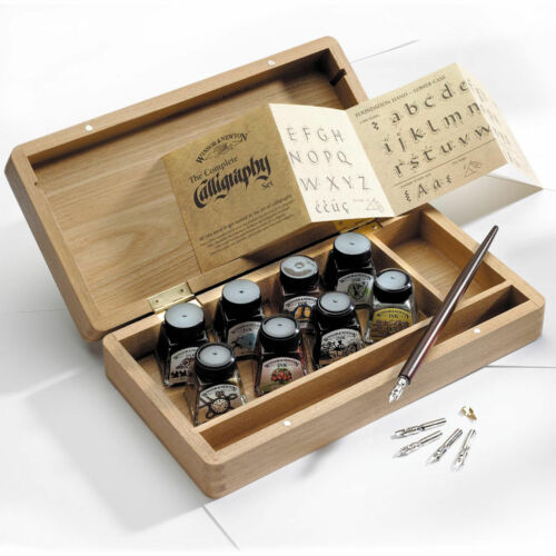 Winsor /& Newton Calligraphy Wooden Box Set Inks Dip Pen Nibs Artist Drawing