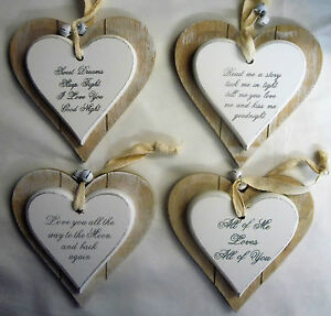 Details about Love Messages Double Layer Solid Wood Hanging Shabby Chic  Love Heart with bells