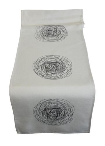Tischläufer Schnecke Tischband Leinenoptik Mitteldecke bestickt 40x160 cm
