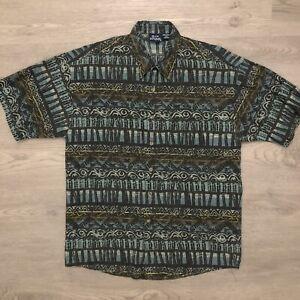 Vintage-Bon-Homme-Mens-Hawaiian-Shirt-Abstract-Short-Sleeve-Size-Medium-USA-Made