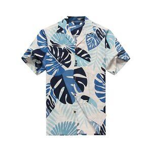 Made-in-Hawaii-Men-Aloha-Shirt-Luau-Cruise-Party-Tropical-Leaves-White-Blue