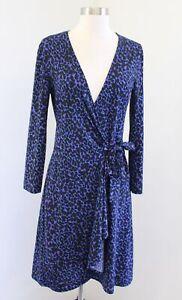 BCBG Max Azria Adele Purple Blue Black Spotted Cheetah Print Wrap Dress Size S
