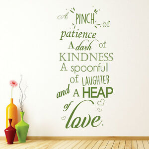 A Pinch Of Patience Wall Sticker Kitchen Quotes Wall Decal Love Home ...