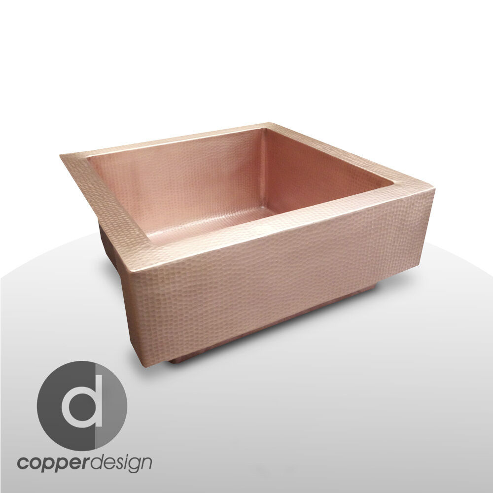 "Apron Sink Vintage Apron And Custom: Copper Farmhouse Kitchen Sink With Short Apron 22""x22"""