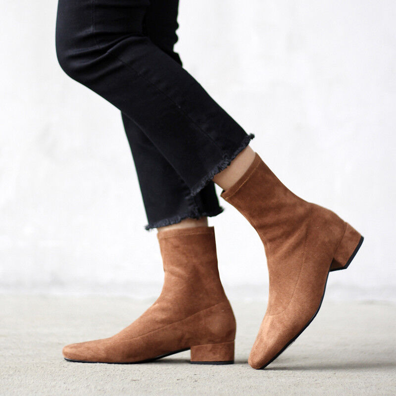 Damen Damen Damen Schuhe Low Heels Wildleder Blockabsatz elegant Stiefel einfarbig Freizeit  | Elegante Und Stabile Verpackung  14bded