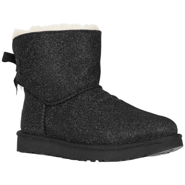 8e37de6bc7a UGG Mini Bailey Bow Sparkle Black Suede Sheepskin Women's BOOTS Size US 7