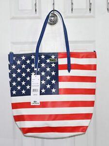 4e5d645731 Lacoste Concept Flag America USA Tote Bag Red White Blue Stars ...