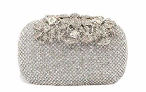 Sparkling Clutch Silver Evening Bag made w Swarovski Crystal Lace Bridal Prom