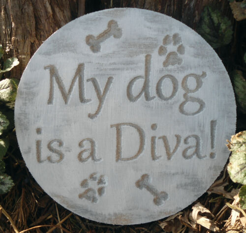 """Dog diva plastic mold  7.75/"""" x 3//4/"""" thick plaster cement resin casting mould"""