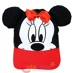 Disney-Minnie-Mouse-Baseball-Cap-Hat-with-3D-Ear-Kids-Adjustable-Hat-Red-Bow