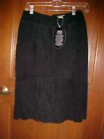 Spiegel Women's 4 Black Suede Leather Lined Flared Skirt