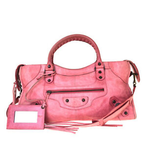 Authentic-BALENCIAGA-The-City-2Way-Shoulder-Hand-Bag-Leather-Pink-Mirror-33BJ813