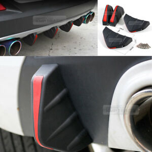Bumper-Diffuser-Molding-Point-Garnish-Air-Spoiler-Cover-Black-Red-for-Benz-Car