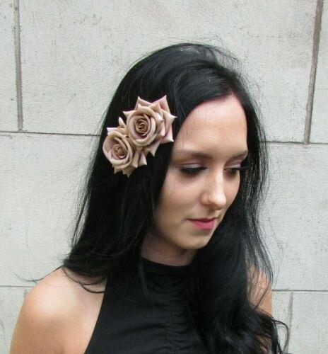 Double Latte Nude Marron Fleur Rose Pince à cheveux bibi Floral Mariage 7673