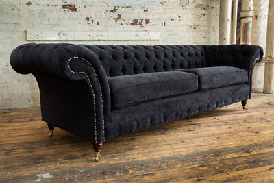 4 Seater Black Velvet Chesterfield Sofa