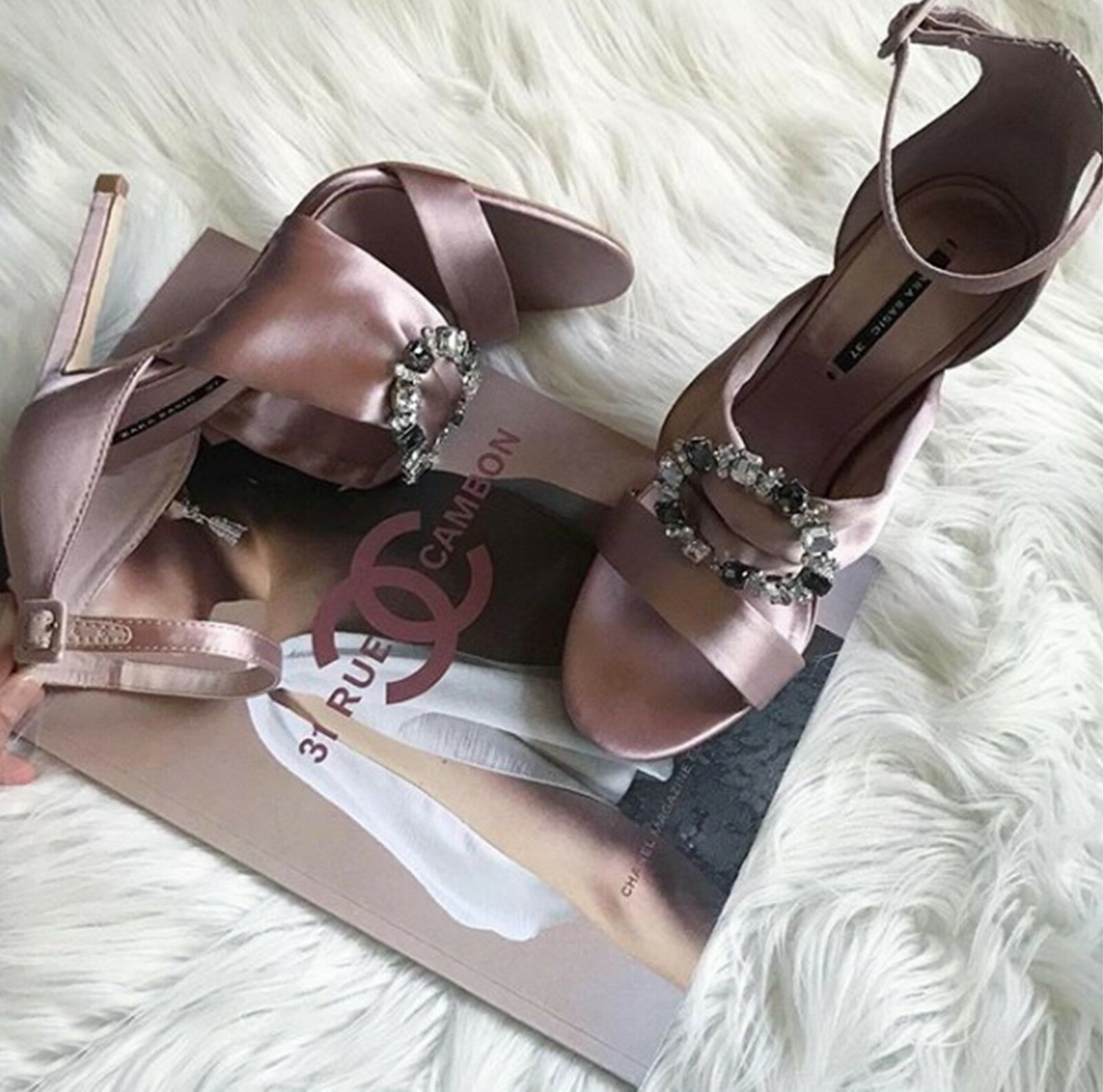 ZARA NUDE SATEEN SATEEN SATEEN EMBELLISHED HIGH-HEEL SANDALS SIZE 5 UK 38 EU 7.5 US 1bda53