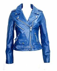 CLASSIC BRANDO Ladies Black Biker Style Motorcycle Cruiser Hide Leather Jacket