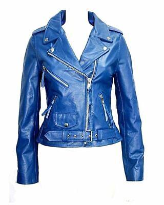 Brando Classic Ladies Black Biker Style Motorcycle Cruiser Hide Leather Jacket