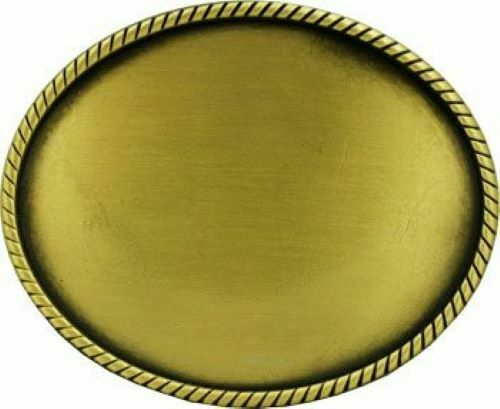 GOLD Bronze Rope PLAIN Metal Belt Buckle for Engraving Round Western Cowboy