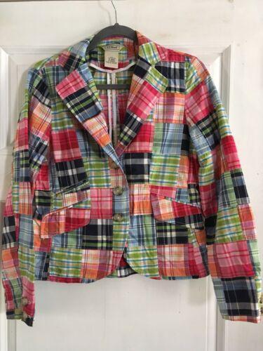 LL Bean Women's Blazer Jacket Patchwork Pink Blue