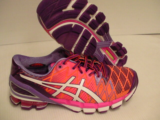 Asics women running shoes gel kinsei 5 flash orange white purple size 6.5 us
