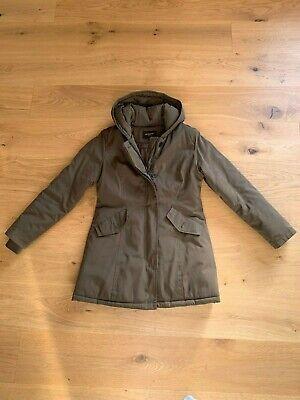 Damen Winter Woll Mantel Langmantel Jacke große Kapuze Melange Optik Schwarz
