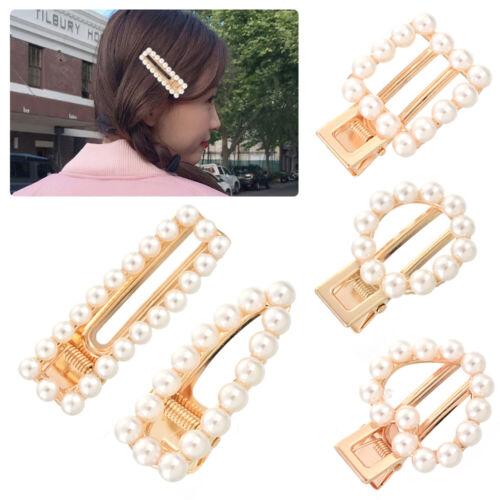 Ladies Pearl Hair Clip Slide Hair Pin Bridal Hair Accessory Chunky Barrette 32