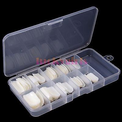 100Pcs Natural white French Acrylic False Fake Nail Art Fingernail Full Tips Box