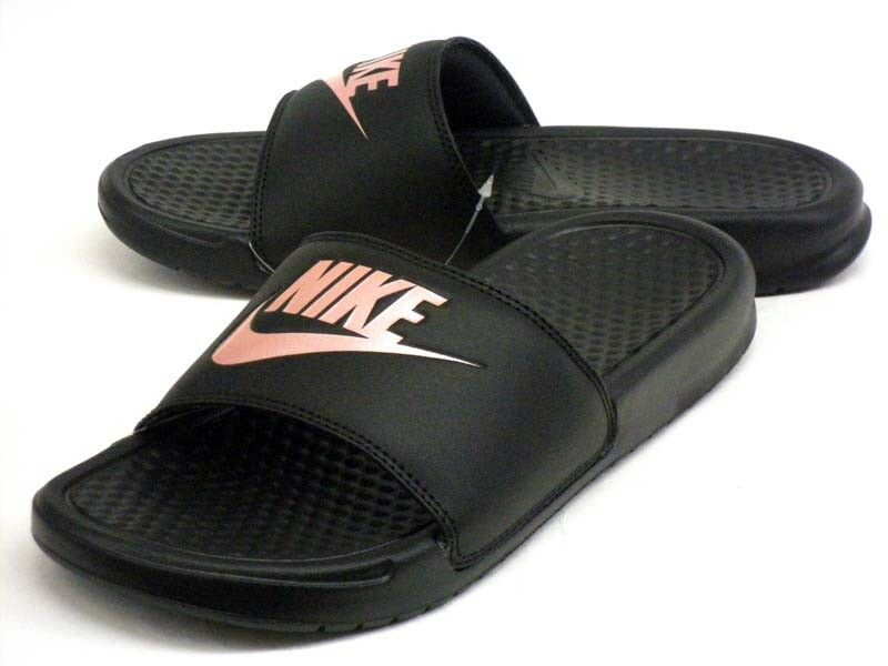 Nike Womens Benassi JDI Sliders Slip On Slides Pool Sandals Black   pink gold.