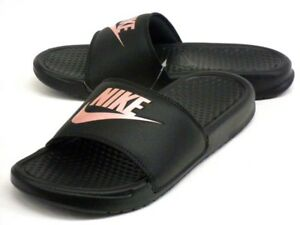 magasin en ligne 94792 fee9e Details about Nike Womens Benassi JDI Sliders Slip On Slides Pool Sandals  Black / Rose Gold.