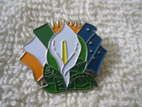 Easter Lily Badge w//Irelands Tri Color /& Starry Flags Irish Pin AOH