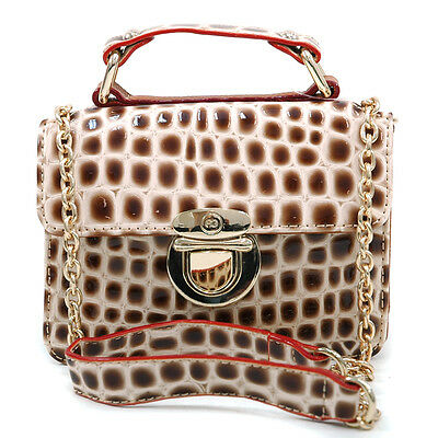 Women Patent Croco Leather Handbag Buckled Tote Bag with Gold Chain Strap Beige