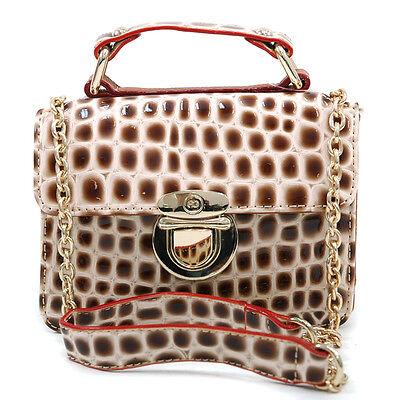 New Women Handbag Faux Patent Croco Leather Satchel Buckled Tote Bag Purse Beige