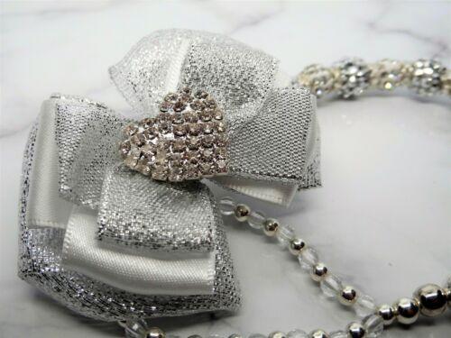 Silver White Diamante Heart Super Shamballa Romany Crystal Bling Baby dummy clip