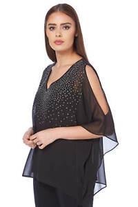 9a72097557e8f2 Roman Originals Women's Black Sparkly Cold Shoulder Overlay Top ...