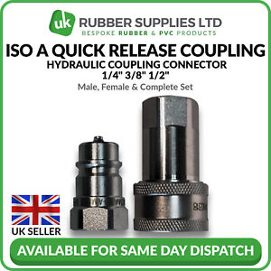 """Quick Release Fitting BSP ISO A Hydraulic Coupling Connector 1/4"""" 3/8"""" 1/2"""""""