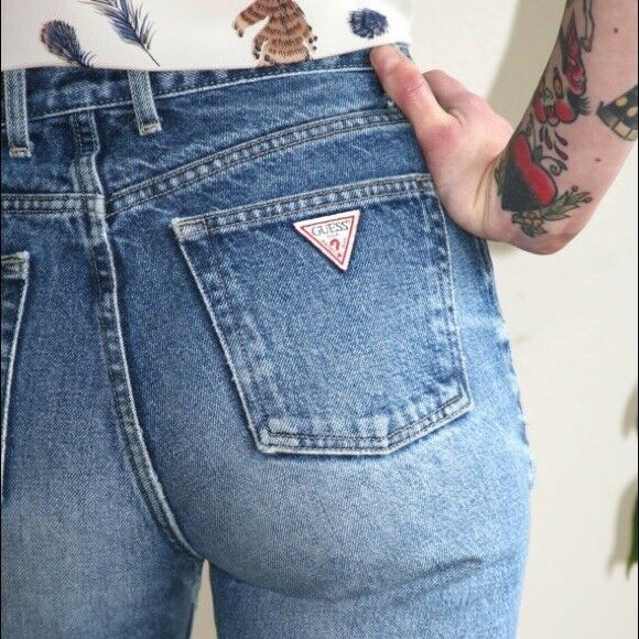 RARE Guess Vintage Original Classic Fit Light Wash High Waisted Jeans 29x30