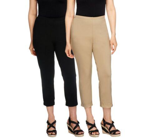 Women with Control Set of 2 Straight Leg Knit Crop Pants Black//Khaki PM Size QVC