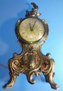 Vintage VICTORIAN LOUIS XV Cast Metal Decorative * MANTEL / FIREPLACE CLOCK *