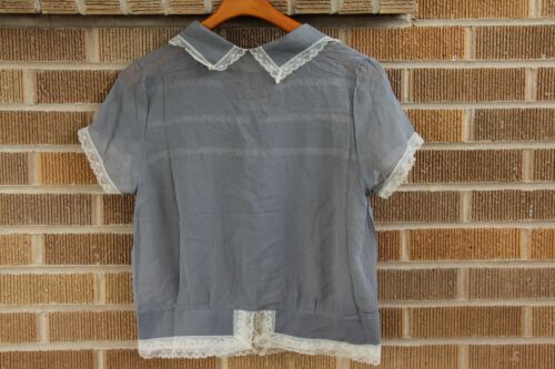 ff26414edafa5 GOLD HAWK~GRAY SILK Collared Blouse with Lace Trim~S~ 220  SOLD OUT ...