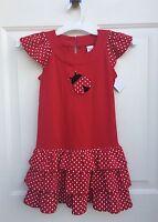 Gymboree Girls Polka Dot Ladybug Red Ruffle Tiered Knit Dress Sz 6 $25